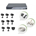 Set of 8 CCTV Bullet Cameras + 1 NIGHT Vision CCTV Dome Camera and 16 Ch DVR With All Required Connectors
