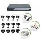 Set of 8 CCTV Bullet Cameras + 4 NIGHT Vision CCTV Dome Cameras and 16 Ch DVR With All Required Connectors