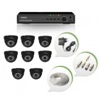 Set of 8 NIGHT Vision CCTV Dome Cameras and 8 Ch DVR With All Required Connectors