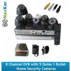 8 Channel DVR with 5 Dome 1 Bullet  Home Security Cameras