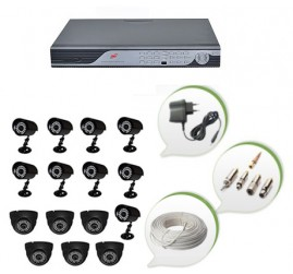 Set of 9 CCTV Bullet Cameras + 6 NIGHT Vision CCTV Dome Cameras and 16 Ch DVR With All Required Connectors