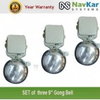 NAVKAR Set of 3 Electric Gong Bell 8 inches