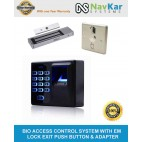Fingerprint Access Control System with EM Lock, Exit Push Button And Adapter