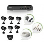 Set of 6 CCTV Bullet Cameras + 1 NIGHT Vision CCTV Dome Camera and 8 Ch DVR With All Required Connectors