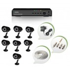 Set of 7 CCTV Bullet Cameras and 8 Ch DVR With All Required Connectors