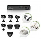 Set of 4 CCTV Bullet Cameras + 3 NIGHT Vision CCTV Dome Cameras and 8 Ch DVR With All Required Connectors