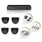 Set of 4 NIGHT Vision CCTV Dome Cameras and 8 Ch DVR With All Required Connectors