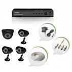 Set of 1 NIGHT Vision CCTV Dome Camera + 3 CCTV Bullet Cameras and 4 Ch DVR With All Required Connectors