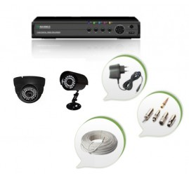 Set of 1 NIGHT Vision CCTV Dome Camera + 1 CCTV Bullet Camera and 4 Ch DVR With All Required Connectors