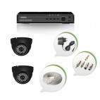 Set of 2 NIGHT Vision CCTV Dome Cameras and 4 Ch DVR With All Required Connectors