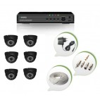 Set of 6 NIGHT Vision CCTV Dome Cameras and 8 Ch DVR With All Required Connectors