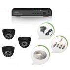 Set of 3 NIGHT Vision CCTV Dome Cameras and 4 Ch DVR With All Required Connectors
