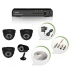 Set of 3 NIGHT Vision CCTV Dome Cameras + 1 CCTV Bullet Camera and 4 Ch DVR With All Required Connectors