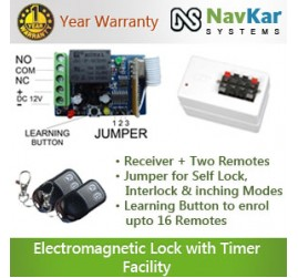 Remote Receiver with Two Remotes for Electromagnetic Lock with Timer Facility + Power Supply