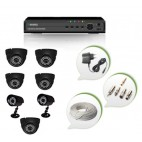 Set of 5 NIGHT Vision CCTV Dome Cameras + 2 CCTV Bullet Cameras and 8 Ch DVR With All Required Connectors