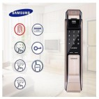Samsung Gold Push Pull Digital Door LOCK based on Fingerprint + Password + Mechanical Key Model - SHS P718