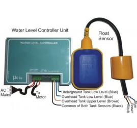 Water Level Controller (With one Sensor for two level for overhead tank only)
