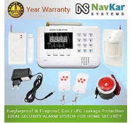Auto - Dial GSM Based Burglar Alarm System with 1 Door Sensor 1 Window Vibration Sensor & 2 Shutter Sensor