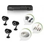 Set of 3 CCTV Bullet Cameras and 4 Ch DVR With All Required Connectors