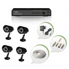 Set of 4 CCTV Bullet Cameras and 4 Ch DVR With All Required Connectors