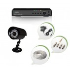 Set of 1 CCTV Bullet Camera and 4 Ch DVR With All Required Connectors