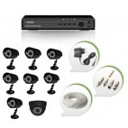 Set of 7 CCTV Bullet Cameras + 1 NIGHT Vision CCTV Dome Camera and 8 Ch DVR With All Required Connectors