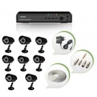 Set of 8 CCTV Bullet Cameras and 8 Ch DVR With All Required Connectors