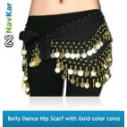 Pack of four Belly Dance Hip Scarf with Golden Coins for Dance Performance