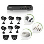 Set of 6 CCTV Bullet Cameras + 2 NIGHT Vision CCTV Dome Cameras and 8 Ch DVR With All Required Connectors