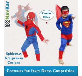 Combo offer of Spiderman + Superman Costume for Kids | B'Day Gift for Boys