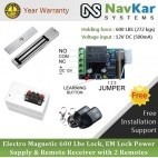 Electro Magnetic 600 Lbs Lock + EM Lock Power Supply + Remote Receiver with 2 Remotes