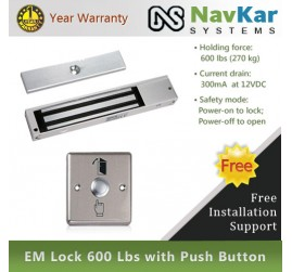 EM Lock 600 Lbs with Push Button