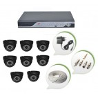 Set of 8 NIGHT Vision CCTV Dome Camera and 16 Ch DVR With All Required Connectors