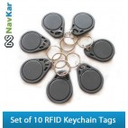 Set of 10 RFID Smart Keychain Tags for Time Attendance or Access Control System