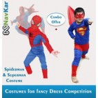 NAVKAR Spiderman And Superman Combo dress for Kids (7-8 YRS)