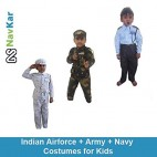 NAVKAR Indian Airforce + Army + Navy Costumes Triset for 9 Years old