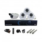 NAVKAR 3 PCs AHD Night Vision 2 MP DOME CCTV CAMERA and 1 PC AHD Night Vision 2 MP BULLET CCTV CAMERA WITH 4 CHANNEL PENTA DVR POWER SUPPLY & CONNECTORS WITH 1 YR WARRANTY