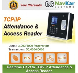 REALTIME C121TA ECO SERIES BIOMETRIC + RFID CARD BASED ATTENDANCE SYSTEM WITH BATTERY, TCP/IP & SOFTWARE