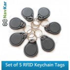Set of 5 RFID Smart Keychain Tags for Time Attendance or Access Control System